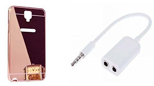 Novo Style Luxury Mirror Effect Acrylic back + Metal Bumper Cover for Samsung Galaxy Note 3 Neo  Rose Gold +  3.5mm Stereo Audio Male to 2 x 3.5mm Female Earphone Splitter Cable Adapter for Smart Phone  available at amazon for Rs.349