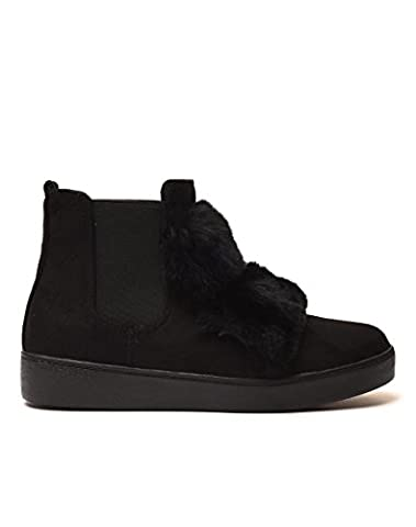 The Fashion Shoes-baskets à la mode -Baskets Basses Tennis Sneakers Effet Daim Uni avec Pompons Boule en vrais Fourrure - Mode Femme (41,