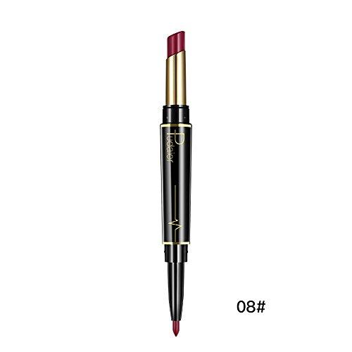 Rossetto LandFox Rouge Crema per le Labbra matita a doppio laccio impermeabile per labbra lipliner a doppio strato 16 colori matt lunga durata Gloss Super Long Lasting Lip Pencil matita per labbra (H)