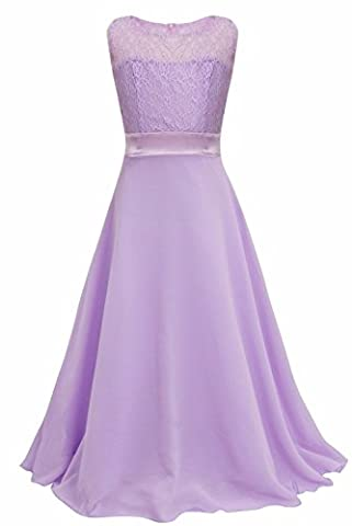 iEFiEL Girls Kids Lace Chiffon Full Length Wedding Party Bridesmaid Pageant Formal Prom Princess Dress Lavender 13-14 Years
