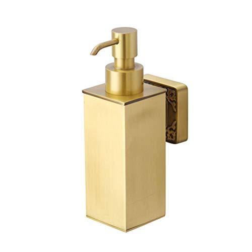 GOPG Wand Messing Seifenspender, Manuell Nachfüllbarer Rostschutz Flüssigseifenspender für Duschgel Shampoo Lotionspender-Gold