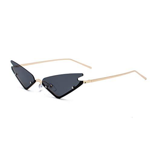 Makefortune 2020 Damen Männer Brille,Unisex mode kleine rahmen sonnenbrille vintage retro unregelmäßige form sonnenbrille Cat Eye Sonnenbrille aus Metall