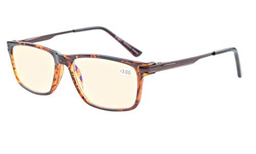 Eyekepper TR90 Rahmen Metall Frühling Arme Keine Linie Bifokal Multifocus Brillen 3 Stufe Vision Lesebrillen Blendschutz Computer Leser(Schildkröte +3.50)
