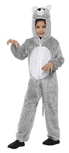 Smiffys Kinder Unisex Maus Kostüm, Ganzkörper Anzug mit Kapuze, One Size, 48190