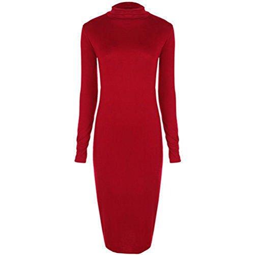 Janisramone donne trutle collo polo manica lunga striscia bodycon formato del vestito SM, ML, XL, XXL, XXXL Rosso