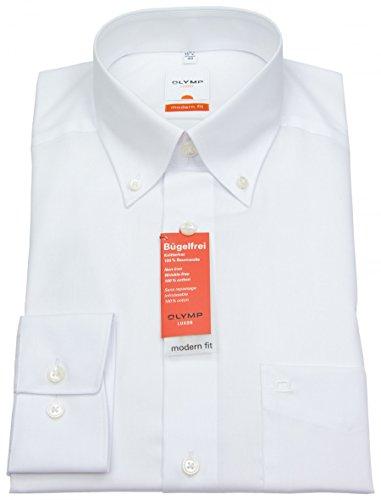 OLYMP Luxor modern fit Hemd Langarm Button Down Kragen Popeline weiß, Size S (Herstellergröße:37)