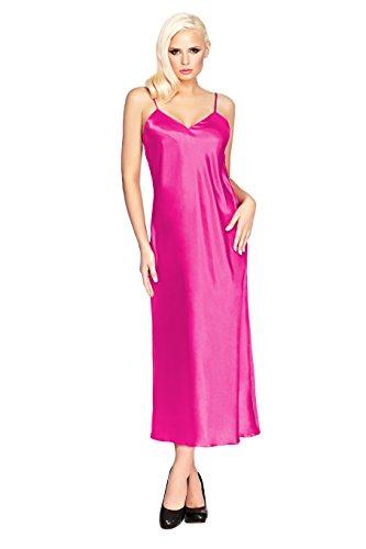 Postero PN008 - Damen Negligé / Nachthemd aus Satin - Lang Pink