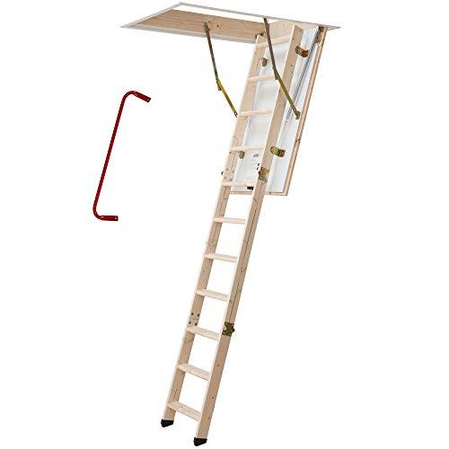 DOLLE Bodentreppe | wärmegedämmt | 120 x 60 cm | 3-teiliges Leiternteil | Lichte Raumhöhe bis 285 cm | U-Wert 1,30 | Inkl. Bedienstab und Handlauf | 150 kg Traglast | Dachstiege | Dachbodentreppe