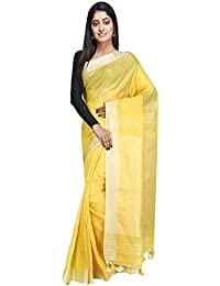 eec95a21025f4e NAKSH KHADI BOUTIQUE Women's Bengal Handwoven 100 count Organic thread Linen  by Linen Sari. Very