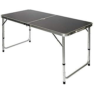 AMANKA klappbarer Stabiler Campingtisch 120x60x70cm höhenverstellbar tragbar Kofferformat Aluminium Dunkel Grau