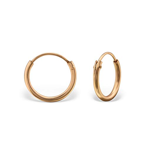 Monkimau Silber Creolen Rose-Gold Ohrring-e 925 Sterling Hoop Ring Huggie Kreolen Unisex Ohrschmuck Damen-Schmuck Frau-en Kinder-Schmuck Mädchen-Ohrringe Geschenk-e (12 mm)