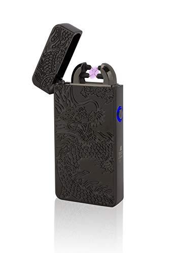 TESLA Lighter T08 | Lichtbogen Feuerzeug, Plasma Double-Arc, elektronisch wiederaufladbar, aufladbar mit Strom per USB, ohne Gas und Benzin, mit Ladekabel, in Edler Geschenkverpackung, Drache Schwarz