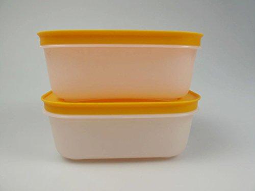 TUPPERWARE Gefrier-Behälter 450 ml weiß-orange Eis-Kristall (2) Eiskristall 15476