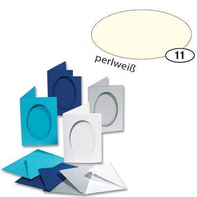 Passepartoutkarten & Umschläge Oval Perlweiß [Spielzeug]