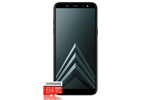 Samsung Galaxy A6+ Smartphone Bundle (6,0 Zoll, 32GB interner Speicher) + Samsung EVO Plus 64 GB Speicherkarte - Deutsche Version (Galaxy Samsung Handy-apps)