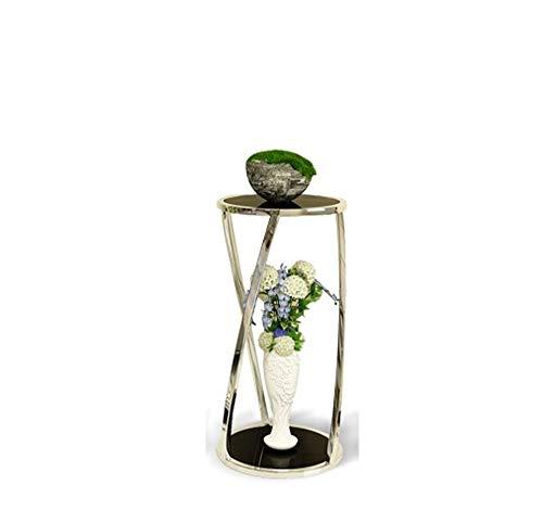 WAZY Licht Doppeldecker Runde Glas Blume Stehen Wohnzimmer Moderne Balkon bodenstehend Gold Lagerung hoch und niedrig Blume Stehen Kombination (Color : Silver, Size : M) (Niedrige Runde Glas-vase)