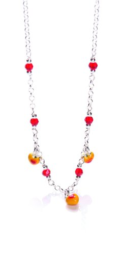 "Silver and red and orange enamelled multi heart 15"" children's necklet"