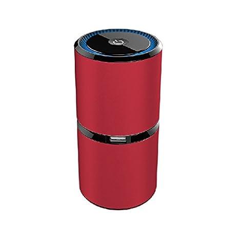 Luftreiniger, yustar 5m Negative Lon Sauerstoff Bar Dual USB-Schnittstelle Aluminium Auto-Lufterfrischer Geruch Allergen Eliminator von Luftreiniger für Auto, Zuhause, Haustiere, Raucher, Kochen, rot, 150mmx65mmx65mm