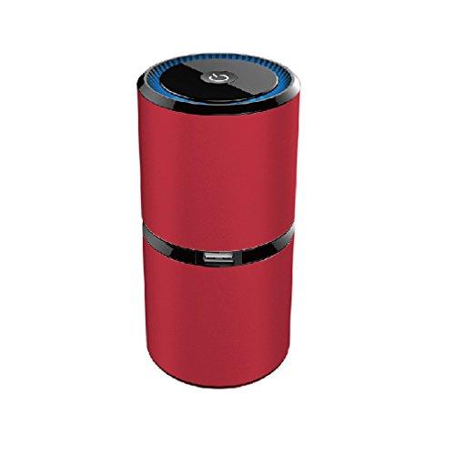 Preisvergleich Produktbild Luftreiniger, yustar 5m Negative Lon Sauerstoff Bar Dual USB-Schnittstelle Aluminium Auto-Lufterfrischer Geruch Allergen Eliminator von Luftreiniger für Auto, Zuhause, Haustiere, Raucher, Kochen, rot, 150mmx65mmx65mm