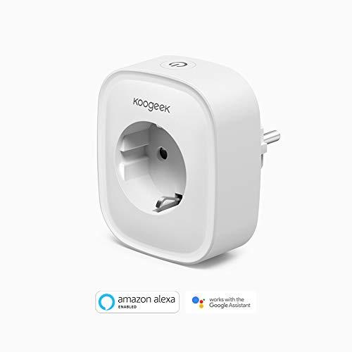Koogeek Wi-Fi Enchufe Inteligente Wi-fi Smart Plug Compatible con Alexa y Google Assistant Control remoto Control de voz Temporizador Monitoreo de energía No requiere concentrador AC220V 1 pack