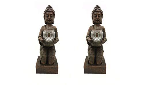 2er Set Windlicht-Figur Buddha XL - Teelichthalter Heim + Garten - Deko Statue