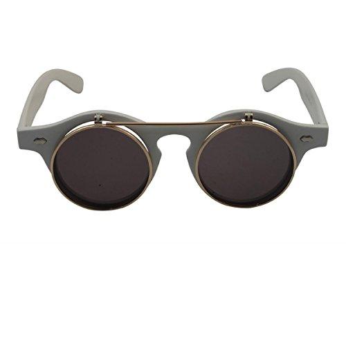 Freak Scene® Retro klappbare Sonnenbrille ° 50s-Stil ° Klassiker Brille ° Farbe: weiß/Gold