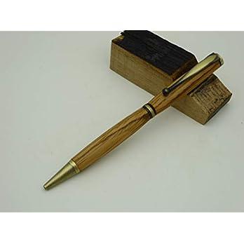 Kugelschreiber aus einem Whisky Fass Eiche Holz handgedrechselt Edelholz Bronze