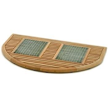 60 x 40 x 4 cm FSC Teakholz//Metall BELARDO Entrada Fußmatte braun//silber