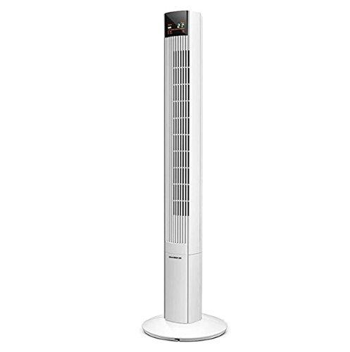 ause Turmventilator Intelligente Fernbedienung Digitalanzeige Großbildschirm Kein Blattgebläse 1.2m Hoher Lüfter Weiß, Black220V (Farbe : Weiß) ()