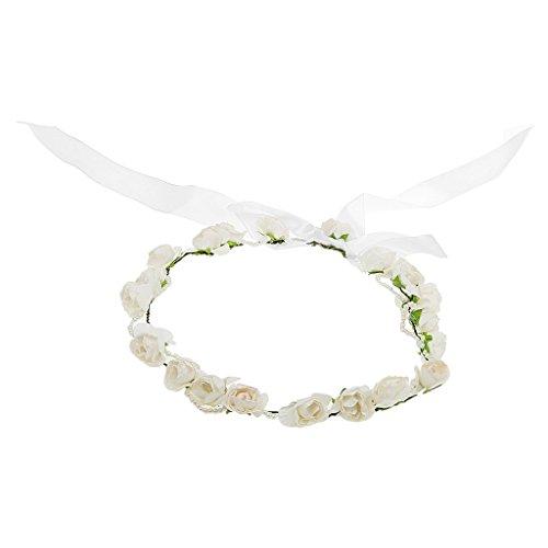 MagiDeal Bandeau de Fleur Guirlande Nuptiale Style Boho Décor Cheveux de Mariée Blanc
