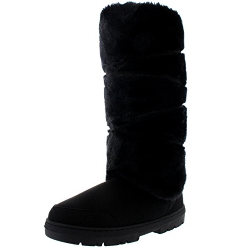 Holly Damen Tall Knee High Fixed Lace Wrap Pelz Gefüttert Winter Schnee Regen Stiefel - Schwarz - BLA40 AEA0415 (Winter High Boot Knee)