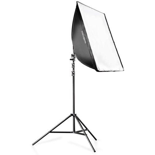 Walimex Daylight-Set 250 (inkl. 50 W Spirallampe, Softbox 40 x 60 cm, Frontdiffusor, Lampenstativ 260 cm, praktischer Transporttasche) - 50w Spiral