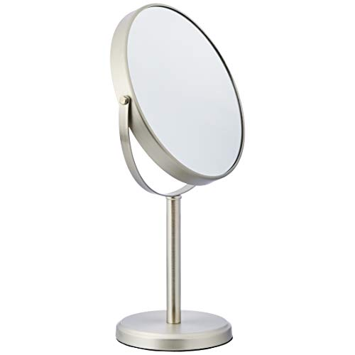 AmazonBasics - Espejo alto de doble cara para lavabo con mueble de baño, Níquel