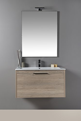 Mobilia, corda - mobile da bagno con lavabo e specchiera color legno, moderno, sospeso con cassettone 90 cm
