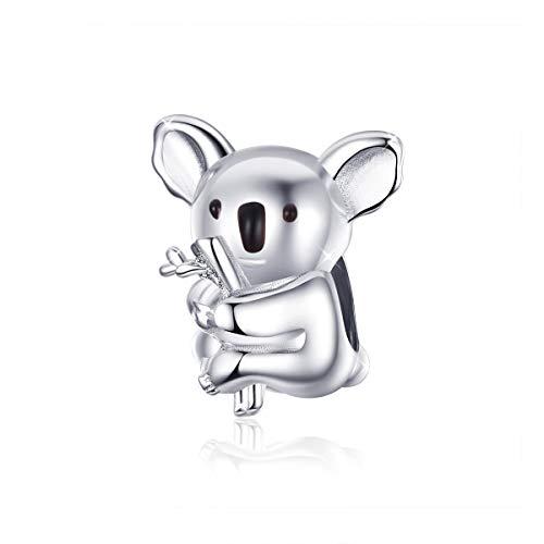 Koala Charms - Abalorio de plata de ley 925 con diseño de animales, compatible con pulseras Pandora