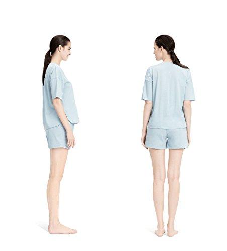Il vestito domestico del cotone delle signore di estate copre il bicchierino-manicotto del vestito di servizio domestico ( Colore : Blu , dimensioni : Xl ) Blu