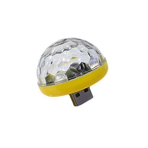 laonBonnie USB Small Size Magic Ball Lampe Touch Sensor Lufterfrischer Neon Sphere Negative Lon Autoinnenbeleuchtung Sound Musik Sprachsteuerung-Gelb -