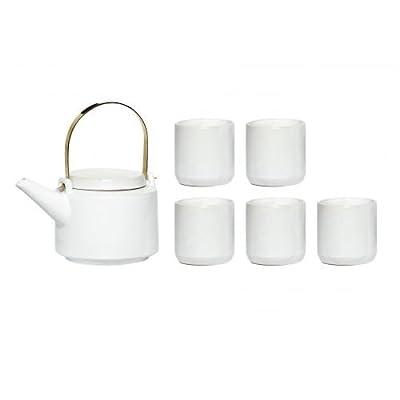 Théière avec 5tasses blanches, Céramique–Jolie Interior