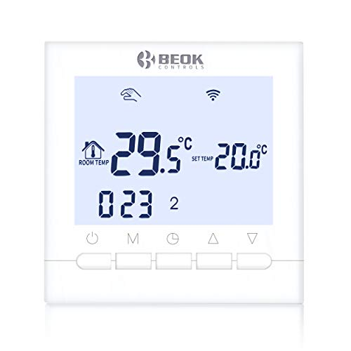 Beok BOT-313 WiFi-Thermostat Für Gaskessel, Programmierbar, LCD-Raumthermostat, Stromversorgung, Online-Steuerung über Smartphone, AC220V 3A, Weiß -