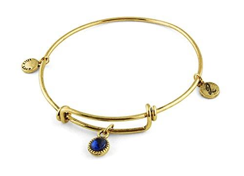 Vintage Gold Damen Schmuck Armband mit Anhänger für Frauen und Mädchen schöner retro Armreif mit Charms stylischer Modeschmuck Damenschmuck Goldschmuck Bettelarmband (blauer Stein)