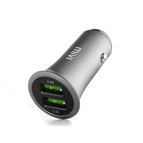 Mivi 2 Port 4.8A Full Metal Body Car Charger,(Gunmetal)