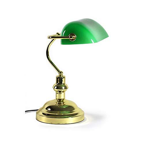 [lux.pro]® Lámpara de mesa - verde-latón - pie de aluminio