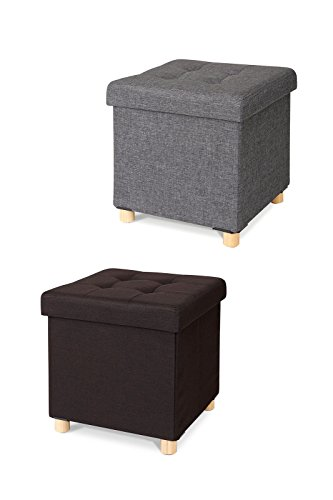 Dibea so00481, Taburete Plegable, Protectora de Lino, reposapiés baúl de almacenaje (40L), Patas Madera (Gris) para Perro