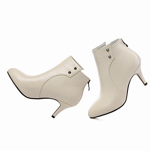 Mee Shoes Damen mit kurzem Flaum Reißverschluss Trichterabsatz Knöchelstiefel Beige