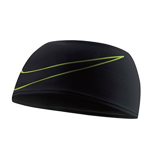 Nike Dri-Fit Swoosh Running Headband Stirnband, Black/Volt, One size Nike Swoosh Stirnband