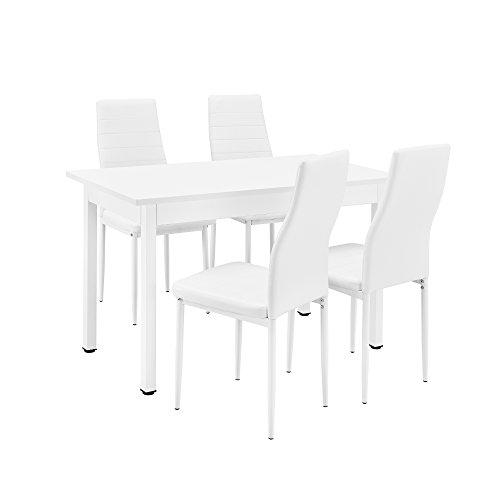 [en.casa] Esstisch/Küchentisch / Esszimmertisch (120x60cm) mit 4 Stühlen weiß Gepolstert - Sitzgruppe im Sparpaket
