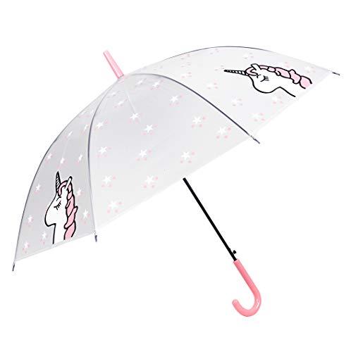 Paraguas Unicornio - Paraguas Transparente de Unicornio - a Prueba de Viento y a Prueba de Lluvia, patrón de Estrellas de la Moda, Mango en J, niños, Rosa