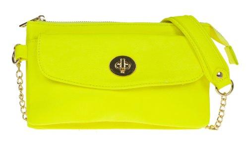 Girly HandBags Cuir Simili Double Zippée Pochette Neon Designer Chaîne Couleurs Sac D'Épaule Soirée