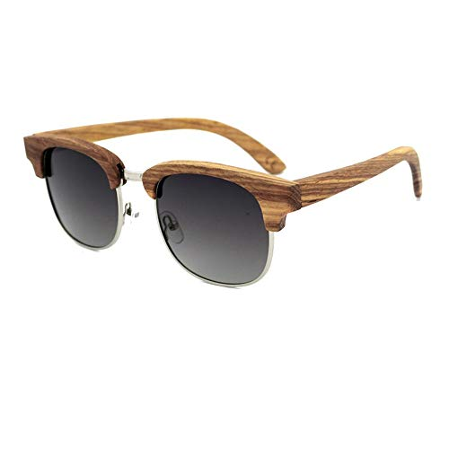Herren/Damen Bamboo Half Frame Sonnenbrillen, Polarized Glasses Sonnenbrillen Brille (Farbe : Wood-Grey Gradient)