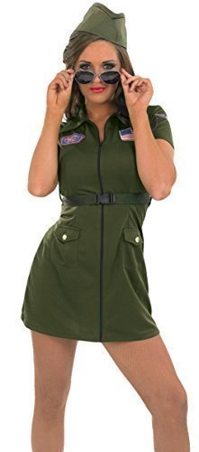 Übergröße Militär Kostüm - Fancy Me Damen Sexy Armee Aviator Streitkräfte Militär Kostüm Kleid Outfit 8-26 Übergröße - Grün, 12-14